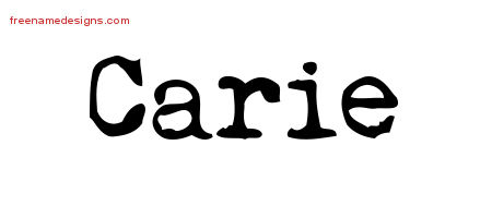 Carie Vintage Writer Name Tattoo Designs